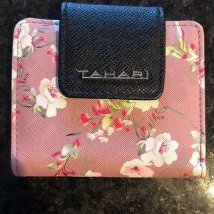 Tahari mini rose pink floral Wallet